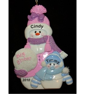 Big Sister / Lil' Bro Personalized Christmas Ornament