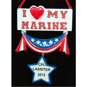 I Love My Marine Personalized Christmas Ornament