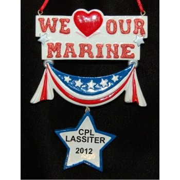 We Love Our Marine Christmas Ornament Personalized by Russell Rhodes