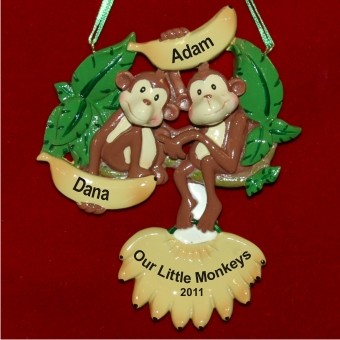 Our Little Monkeys -- Twins Personalized Christmas Ornament