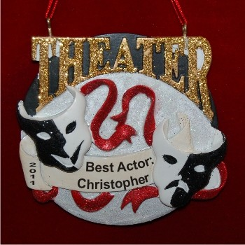 Actors Rock the Theater! Personalized Christmas Ornament