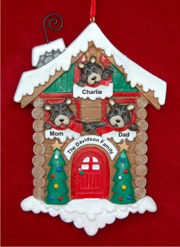Black Bears: Happy Family of 3 Personalized Christmas Ornament