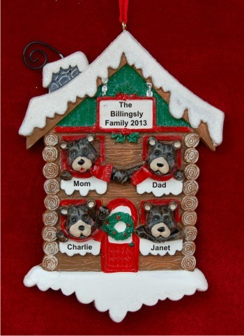 Black Bears: Happy Family of 4 Christmas Ornament Personalized by Russell Rhodes