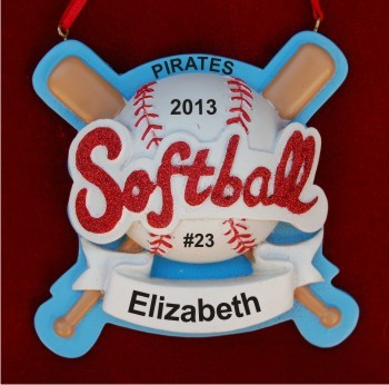 She Rocks Softball! Personalized Christmas Ornament