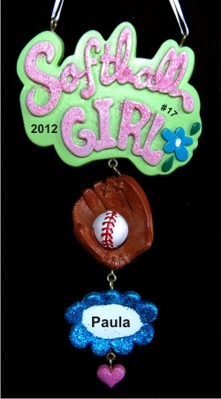 Cool Girls Rock at Softball Christmas Ornament