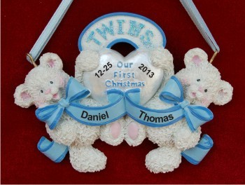 Baby Bear Twins: Both Boys Personalized Christmas Ornament