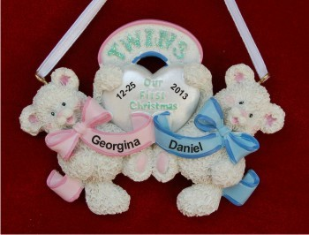 Baby Bear Twins: Boy & Girl Personalized Christmas Ornament