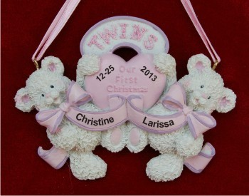 Baby Bear Twins: Both Girls Personalized Christmas Ornament