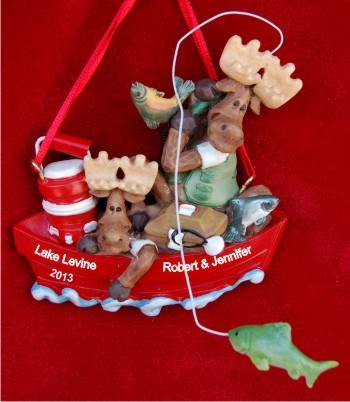 Boating Moose: Couple's Delight Personalized Christmas Ornament