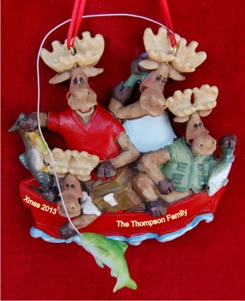 Boating: Moose Family of 4 Personalized Christmas Ornament
