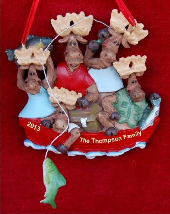 Boating: Moose Family of 5 Personalized Christmas Ornament