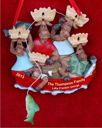 Family of 5 Fishing Personalized Christmas Ornament