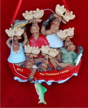 Boating: Moose Family of 6 Personalized Christmas Ornament
