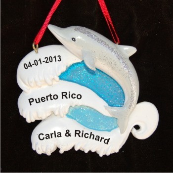 Sweet Song of the Dolphin Our Beach Wedding Personalized Christmas Ornament