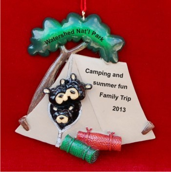 Black Bear Tent Family of 3 Personalized Christmas Ornament