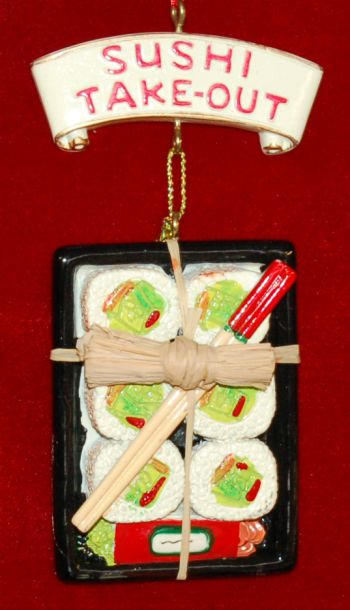 Sushi To Go Christmas Ornament Personalized by Russell Rhodes