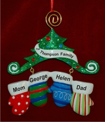 Staying Warm Mittens for 4 Christmas Ornament Personalized by Russell Rhodes