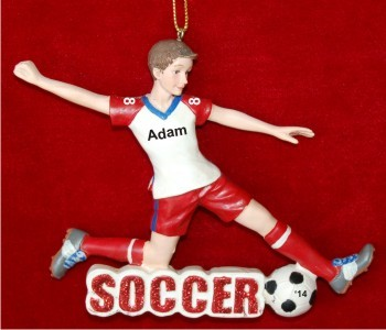 Moves Like Lightning Soccer Boy 3D Christmas Ornament Personalized by Russell Rhodes