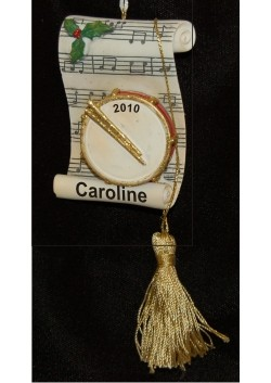 Golden Drum with Sheet Music Personalized Christmas Ornament