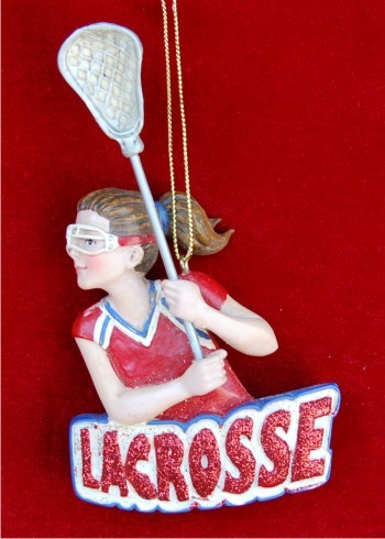 Lacross Female Christmas Ornament Personalized by Russell Rhodes