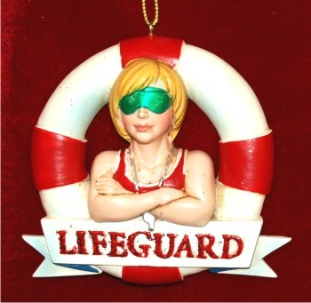 Lifeguard Female Ready to Serve Christmas Ornament Personalized