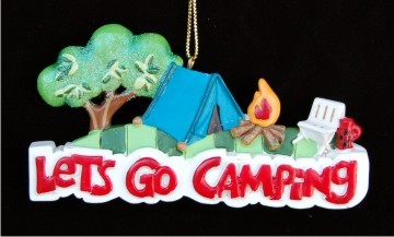 Back to Nature: Let's Go Camping Personalized Christmas Ornament