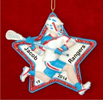 Moves Like Lightning Lacrosse Boy Christmas Ornament