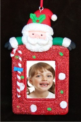 Santa Photo Picture Frame Christmas Ornament Personalized by Russell Rhodes