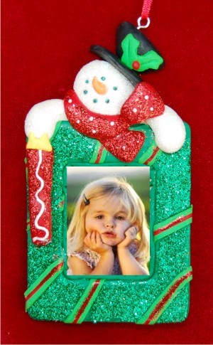 Snowman Photo Picture Frame Christmas Ornament Personalized by Russell Rhodes