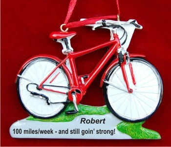 Bike for Health Red Christmas Ornament Personalized by Russell Rhodes