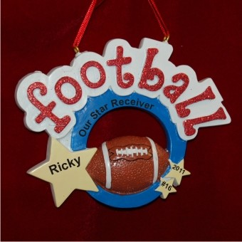 Football Star with Game Ball Personalized Christmas Ornament