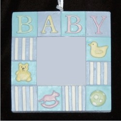 Baby Boy Blocks Rubber Duckie and More Frame Christmas Ornament