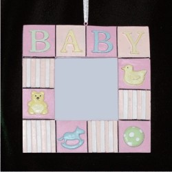 Baby Girl Blocks Rubber Duckie and More Frame Christmas Ornament