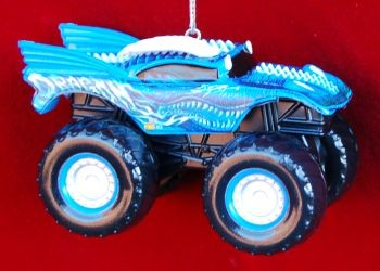 Dragon Monster Truck Christmas Ornament Personalized by Russell Rhodes