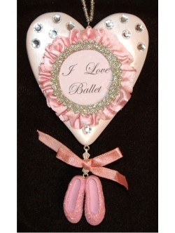 I Love Ballet Frame Personalized Christmas Ornaments