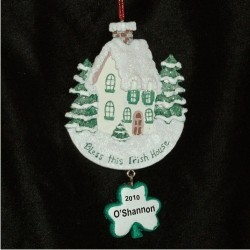 Bless this Irish House Personalized Christmas Ornament