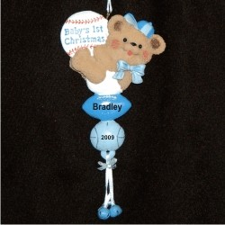 Blue Heart Dangle Baby's First Christmas Personalized Christmas Ornament