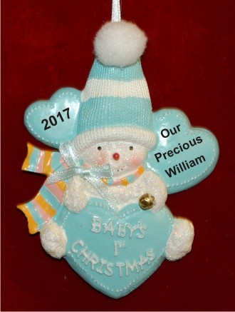 Blue Snow Baby with Hearts and Stocking Cap Christmas Ornament Personalized by Russell Rhodes