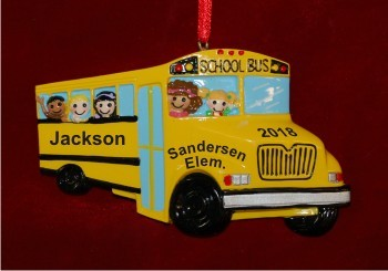 Love of Learning School Bus Christmas Ornament Personalized by Russell Rhodes