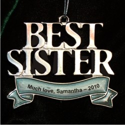 Best Sister Christmas Ornament Personalized by Russell Rhodes