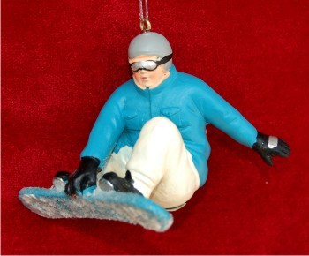 Male Snowboarder Blue Christmas Ornament