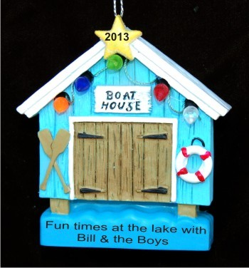 Boat House Personalized Christmas Ornament