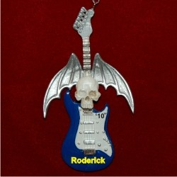 Blue Skull Guitar Personalized Christmas Ornament