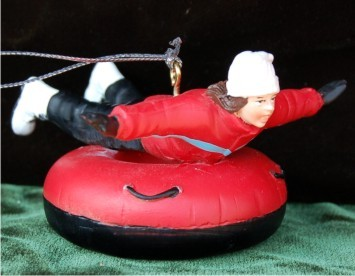 Girl Snow Tubing Personalized Christmas Ornament