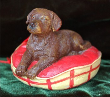 Chocolate Lab Pup on Bed Christmas Ornament Personalized by Russell Rhodes