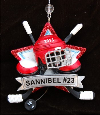 Hockey Helmet Christmas Ornament Personalized by Russell Rhodes