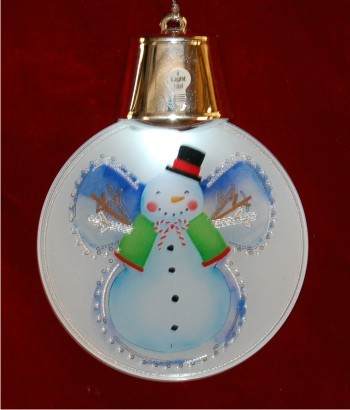 Snowman Snowangel with Light-up Lights Christmas Ornament Personalized by Russell Rhodes