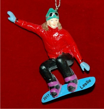 Snowboard Champ Female Brunette Christmas Ornament Personalized by Russell Rhodes