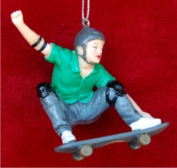 Skateboarder with Green Shirt Personalized Christmas Ornament