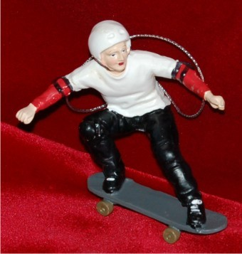 Skateboarder Poised for Jump Christmas Ornament Personalized by Russell Rhodes
